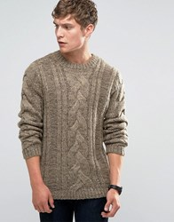 Bellfield Chunky Cable Knitted Jumper Chestnut Brown