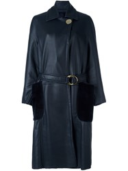 Petar Petrov Belted Shearling Long Coat Blue