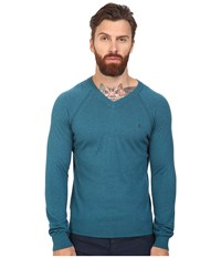 Original Penguin Long Sleeve V Neck Pima Cotton Sweater Ink Blue Men's Sweater
