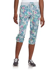 Kensie Cropped Floral Pants Blue Multi