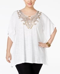 Jm Collection Plus Size Embellished Keyhole Poncho Only At Macy's Bright White