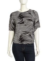 T Bags T Bags Dolman Sleeve Swirl Striped Top Black White