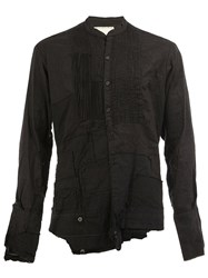 Greg Lauren Mandarin Neck Ribbed Shirt Black