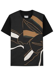 Wooyoungmi Black Printed Twill And Jersey T Shirt
