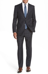 Peter Millar Classic Fit Plaid Wool Suit Charcoal