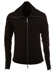 Masnada Wide Lapel Zipped Jacket Black