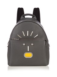 Fendi Selleria Faces Leather Backpack Grey Multi