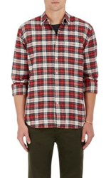 Barneys New York Men's Plaid Cotton Flannel Shirt Red Ivory Blue Red Ivory Blue