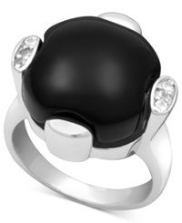 Macy's Sterling Silver Ring Onyx 13 14Mm And White Topaz 9 10 Ct. T.W.