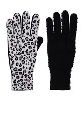 Autumn Cashmere Leopard Gloves Black