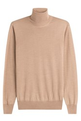 Jil Sander Wool Turtleneck Pullover With Silk Camel