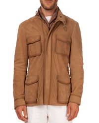 Berluti Leather Field Jacket Beige Sacco