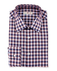 Luciano Barbera Lightweight Check Woven Shirt Pink Purple