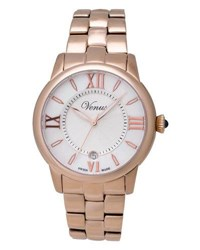 Venus Of Switzerland Impetus Rose Golden Time Date Bracelet Watch White
