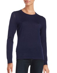 Lord And Taylor Petite Crewneck Merino Wool Sweater Evening Blue