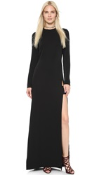 Jill Stuart Long Sleeve Maxi Dress With Slit Black