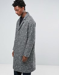 Asos Textured Overcoat In Black And White Grey