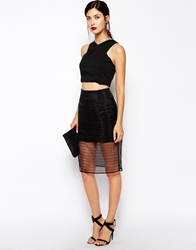 Finders Keepers Stand Still Skirt With Sheer Overlay Black