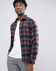 Selected Homme Plus Check Shirt Jacket With Zip Front White Grey