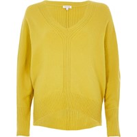 River Island Womens Green Ribbed Panel Batwing Jumper