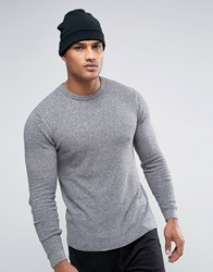 Asos Cotton Crew Neck Jumper With Waffe Texture In Muscle Fit Lt Grey Twist