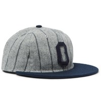 Ebbets Field Flannels Appliqued Striped Wool Baseball Cap Gray