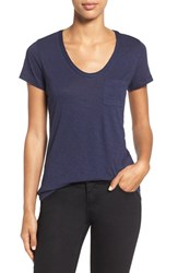 Women's Caslon Relaxed Slub Knit U Neck Tee Navy Peacoat