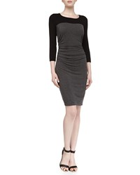 Laundry By Shelli Segal 3 4 Sleeve Contrast Fitted Stretch Jersey Dress Dark Charcoal