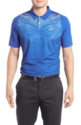 Nike Men's Tiger Woods Velocity Max Dri Fit Golf Polo Game Royal Reflective Silver