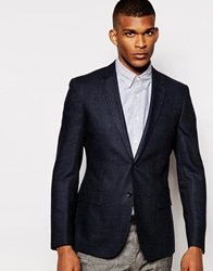 Reiss Check Blazer In Slim Fit Navy