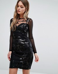 Lipsy Sequin Patterned Dress With Mesh Long Sleeve Black