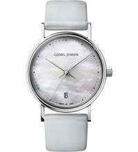 Georg Jensen Koppel Stainless Steel Mother Of Pearl And Satin Watch 32Mm