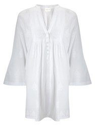 East Chikan Tunic Top White