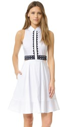 Jonathan Simkhai Cutout Trim Shirtdress White Navy