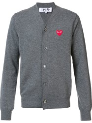 Comme Des Garcons Play Embroidered Heart Cardigan Grey