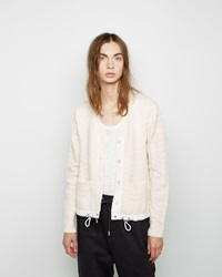 Sacai Cable Knit Drawstring Cardigan Off White