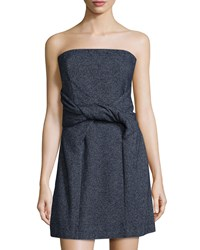See By Chloe Strapless Twist Fit And Flare Dress Navy Black