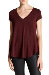 H By Bordeaux Classic V Neck Tee Red
