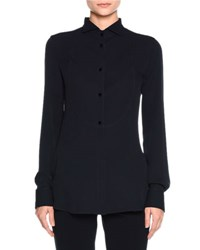 Giorgio Armani Silk Button Front Tuxedo Blouse Navy