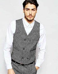 Asos Slim Fit Waistcoat In Textured Fabric In Grey Blackwhite