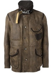 Parajumpers Buttoned Leather Jacket Brown