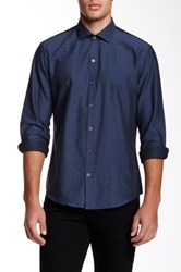 Zachary Prell Hale Printed Long Sleeve Shirt Blue