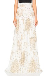 Giambattista Valli Daisy Print Georgette Skirt In White Floral