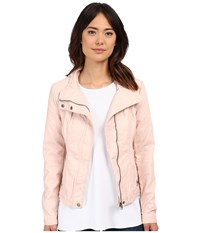Brigitte Bailey Doralee Faux Leather Jacket Pure Blush Women's Clothing Pink
