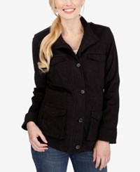 Lucky Brand High Collar Zippered Jacket Black Beauty