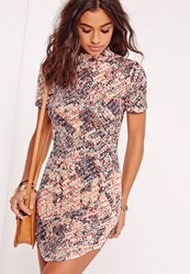 Missguided Curve Hem Short Sleeve Mini Dress Multi Multi