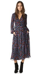 Cynthia Rowley Folky Floral Open Back Wrap Dress Black