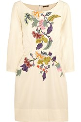 Vineet Bahl Floral Embroidered Matelasse Mini Dress White