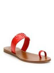 Tory Burch Marcia Leather Toe Ring Slides Brilliant Red