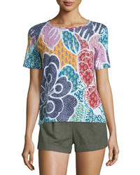 Diane Von Furstenberg Val Cotton Flower Power Dream Tee Size Medium Flower Power Drea